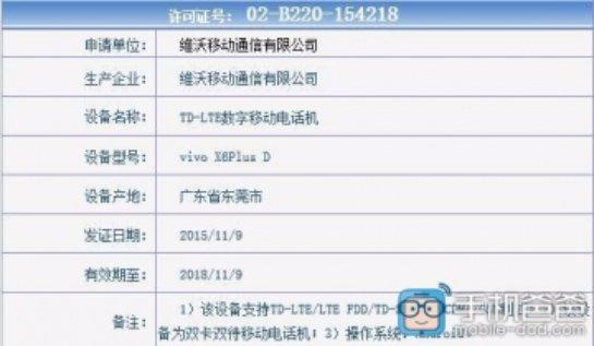 При получении лицензии засветилась новая модель Vivo X6 Plus