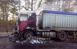 На Полтавщине сгорел грузовик