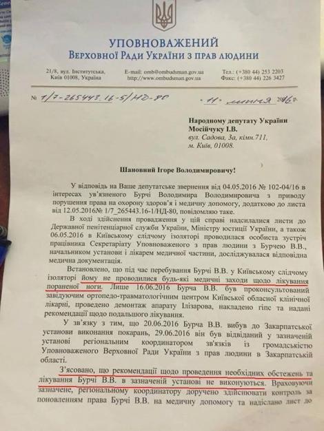 Бойца ДУК ПС Бурчу, обвиняемого в бойне в Мукачево, пытали в СИЗО  -  омбудсмен