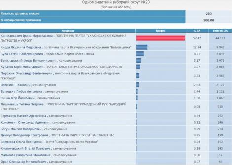 В округе №23 на Волыни победила кандидат от «Укропа» Констанкевич