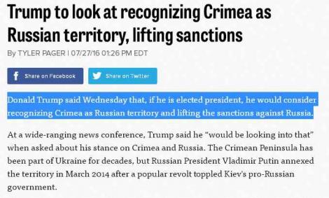 Трамп может признать Крым российским и снять санкции США с Кремля