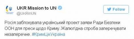 РФ заблокировала в Совбезе ООН заявление Украины по включению Крыма в ЮФО России