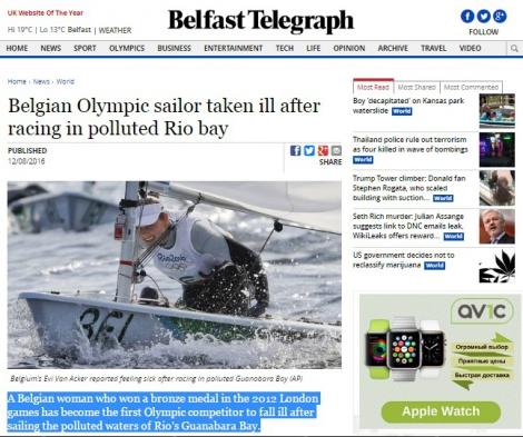В Рио яхтсменка из Бельгии отравилась нечистотами в заливе и покинула Олимпиаду