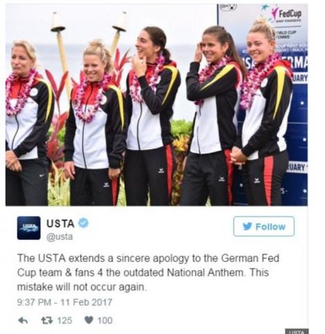 На крупном теннисном турнире в США включили гимн времен Третьего рейха вместо гимна ФРГ