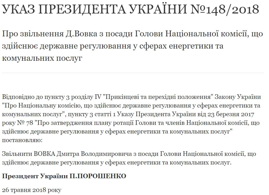 Президент уволил скандального главу НКРЕКП Дмитрия Вовка