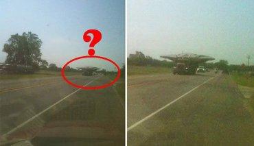В США штат Техас , военные под конвоем перевозили «летающую тарелку»