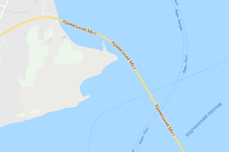 Google Maps прописал название Крымского моста на украинском языке